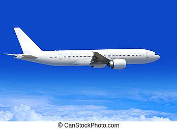 passenger plane in aerosphere - white passenger plane flies...