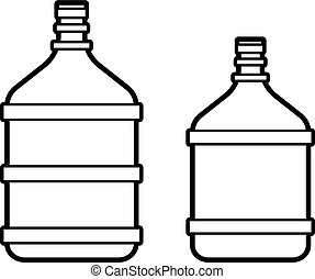 Big plastic bottle with water isolated on white background. Line icon.