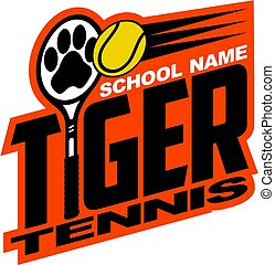 tiger tennis team design with paw print inside racquet for...