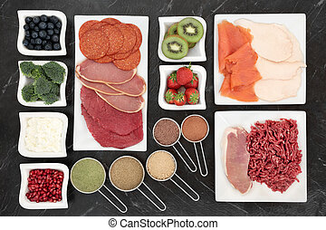 Body Building Food - Body building food with meat, fish,...