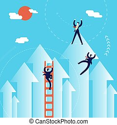 Business men climb to success concept illustration