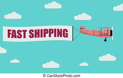 Plane Banner Fast Shipping - illustration of a plane towing...