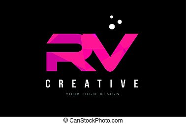 RV R V Letter Logo with Purple Low Poly Pink Triangles...