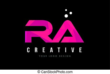 RA R Q Letter Logo with Purple Low Poly Pink Triangles...