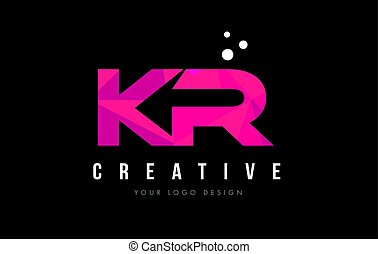 KR K R Letter Logo with Purple Low Poly Pink Triangles...