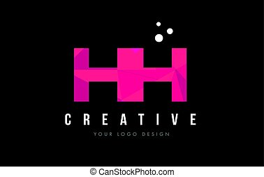HH H H Letter Logo with Purple Low Poly Pink Triangles...