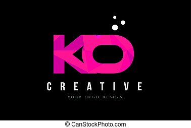KO K O Letter Logo with Purple Low Poly Pink Triangles...