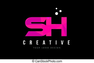 SH S H Letter Logo with Purple Low Poly Pink Triangles...
