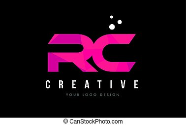 RC R C Letter Logo with Purple Low Poly Pink Triangles...