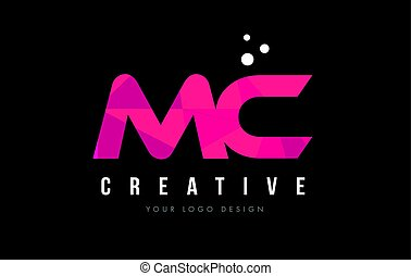 MC M C Letter Logo with Purple Low Poly Pink Triangles...