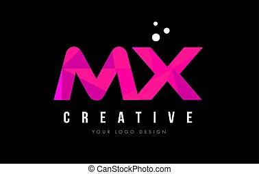 MX M X Letter Logo with Purple Low Poly Pink Triangles...