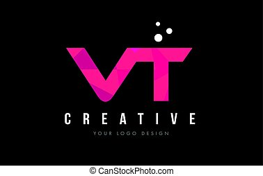 VT V T Letter Logo with Purple Low Poly Pink Triangles...