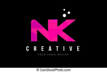 NK N K Letter Logo with Purple Low Poly Pink Triangles...