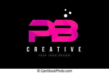 PB P B Letter Logo with Purple Low Poly Pink Triangles...