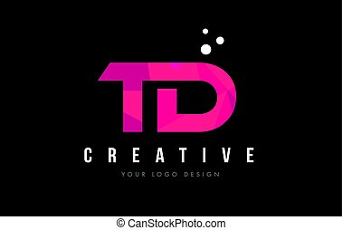 TD T D Letter Logo with Purple Low Poly Pink Triangles...