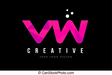 VW V W Letter Logo with Purple Low Poly Pink Triangles...
