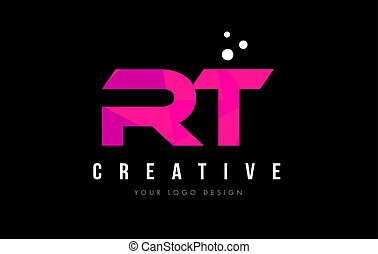 RT R T Letter Logo with Purple Low Poly Pink Triangles...