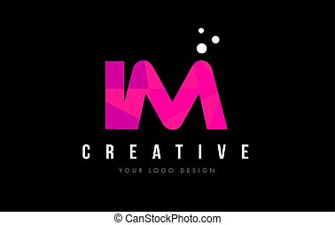 IM I M Letter Logo with Purple Low Poly Pink Triangles...