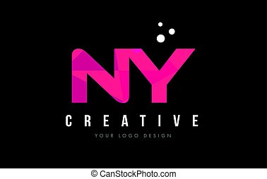 NY N Y Letter Logo with Purple Low Poly Pink Triangles...