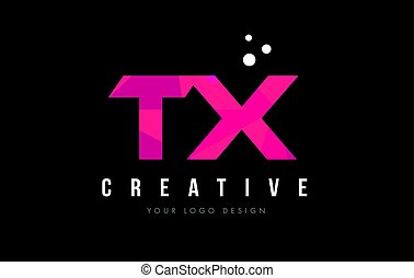 TX T X Letter Logo with Purple Low Poly Pink Triangles...