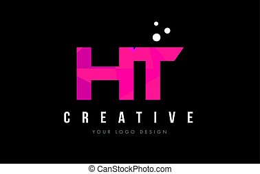 HT H T Letter Logo with Purple Low Poly Pink Triangles...