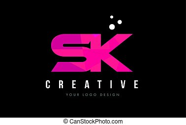 SK S K Letter Logo with Purple Low Poly Pink Triangles...