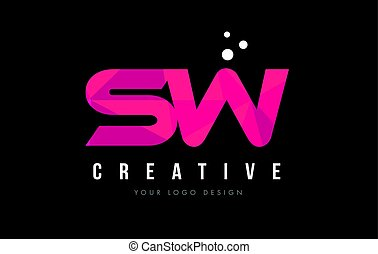 SW S W Letter Logo with Purple Low Poly Pink Triangles...