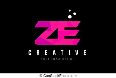ZE Z E Letter Logo with Purple Low Poly Pink Triangles...