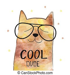 Vector illustration with funny cat in a glasses. Cute typography poster with lettering - cool dude. Hipster style design. Print on t-shirt.