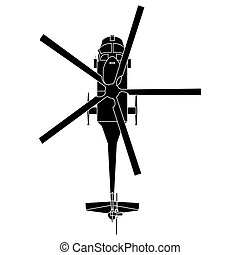 Isolated helicopter silhouette
