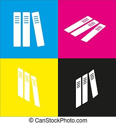 Row of binders, office folders icon. Vector. White icon with...