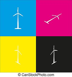 Wind turbine logo or sign. Vector. White icon with isometric projections on cyan, magenta, yellow and black backgrounds.