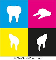 Tooth sign illustration. Vector. White icon with isometric projections on cyan, magenta, yellow and black backgrounds.