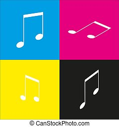 Music sign illustration. Vector. White icon with isometric projections on cyan, magenta, yellow and black backgrounds.