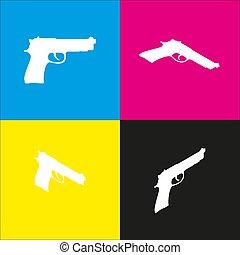 Isométrico, Ilustración, arma de fuego, amarillo, señal,...