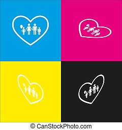 Family sign illustration in heart shape. Vector. White icon...