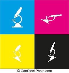 Chemistry microscope sign for laboratory. Vector. White icon with isometric projections on cyan, magenta, yellow and black backgrounds.