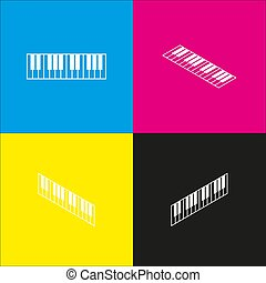 Piano Keyboard sign. Vector. White icon with isometric projections on cyan, magenta, yellow and black backgrounds.