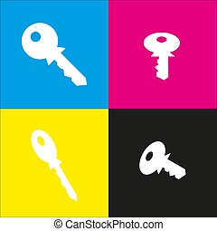 Key sign illustration. Vector. White icon with isometric projections on cyan, magenta, yellow and black backgrounds.