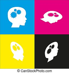 Thinking head sign. Vector. White icon with isometric projections on cyan, magenta, yellow and black backgrounds.