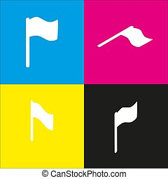 Flag sign illustration. Vector. White icon with isometric projections on cyan, magenta, yellow and black backgrounds.