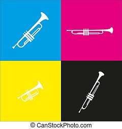 Musical instrument Trumpet sign. Vector. White icon with...