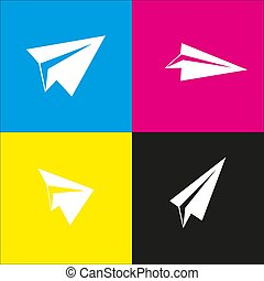 Paper airplane sign. Vector. White icon with isometric...