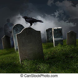 Cemetery with old gravestones and black raven