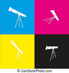 Telescope simple sign. Vector. White icon with isometric projections on cyan, magenta, yellow and black backgrounds.