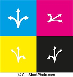 Three-way direction arrow sign. Vector. White icon with...