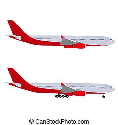 Airplane with chassis and airliner without chassis. On white...