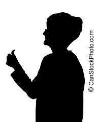 Side profile portrait silhouette of happy elderly lady showing thumbs up