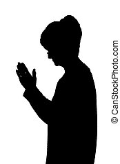 Side profile portrait silhouette of elderly lady standing praying