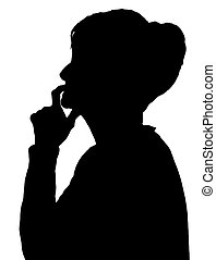 Front profile portrait silhouette of elderly lady finger on lips thinking